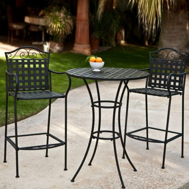 Awe Inspiring Wrought Iron Bar Height Bistro Set 2 Chairs Outdoor Patio Furniture Woven Black Gmtry Best Dining Table And Chair Ideas Images Gmtryco