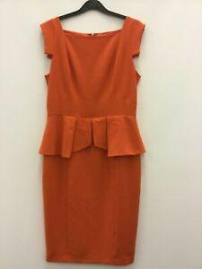 Pied-a-terre-ladies-pencil-dress-orange-short-sleeve-size-10