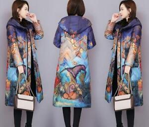 Jacket Kvinder Floral Outwear Lang Coat Hooded Parka Down Vinter Warm Trench rfq8nEfPCw