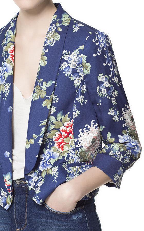 ZARA Mujer Abrigo Chaqueta Blazer Print Floral Floral Floral Azul Oriental Flor Extra Pequeño c7e91d