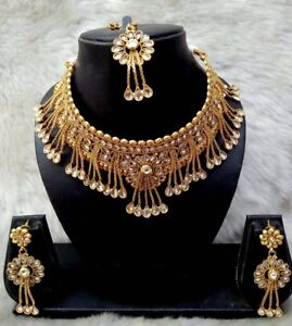 Indian-Bollywood-Bridal-Wedding-Gold-Fashion-Jewelry-Necklace-Earrings-Set