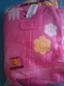 7c3bb888452f NWT 2 LITTLE GIRLS JOE BOXER FOOTED BLANKET SLEEPERS PINK   YELLOW ...