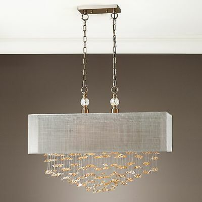 NEW RICH CHAMPAGNE CRYSTALS & BRUSHED BRASS PENDANT HANGING CHANDELIER 2 LIGHT