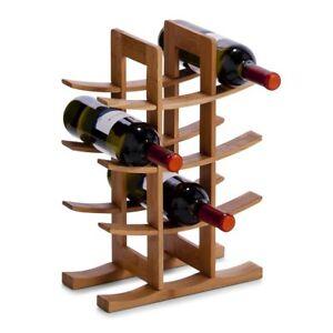 Botellero madera para 12 botellas vino dise o sofisticado hecho de bambu novedad ebay - Botelleros de madera para vino ...