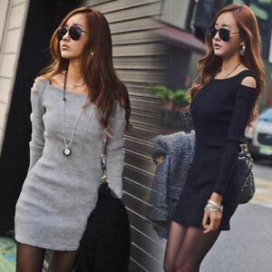 Women-Winter-Knitted-Jumper-Gray-Sweater-Tops-Pullover-Knitwear-Long-Tops-Dress