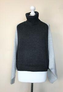 MINT-VELVET-Sweater-Bat-Sleeves-Dark-amp-Light-Grey-Womens-UK-L