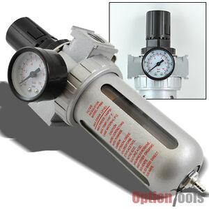 air compressor water filter w regulator gauge oil water trap 3 8 npt air tools ebay. Black Bedroom Furniture Sets. Home Design Ideas