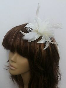 New 3 x Ivory Cream Hair Fascinators Satin Headband Bride ... 54c26479dd4