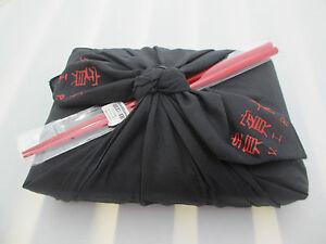 BENTO-BOX-SET-Japanese-V-I-P-Furoshiki-boxes-JAPAN-obento-black-red-kanji-words