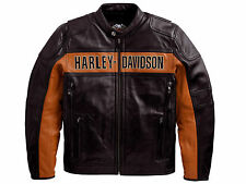 Harley Davidson Men Black Orange Classic Riding Leather Jacket XL 98014-10VM New