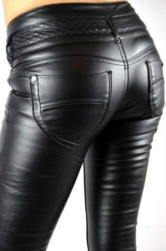 Women Pants Faux Leather Trousers Jeans 026 Skinny Black Slim Fit Look