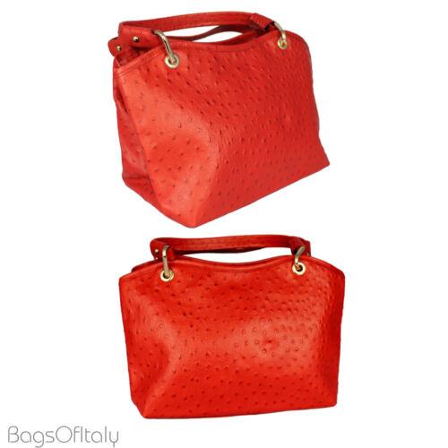 Daniela Moda In Pelle Ostrich Real Italian Leather Shoulder Handbag With Strap