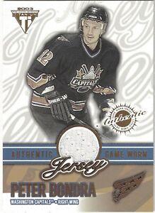 2002-03-Titanium-PETER-BONDRA-Authentic-Game-Worn-Jersey-Card-0287-1289