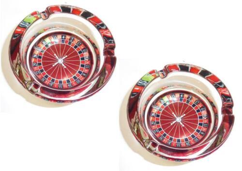 """Lot 2 SUPERBE Cendrier en Verre /""""Roulette Jeux Vegas/"""" Ø 8,5 cm Etat Neuf Emballé"""