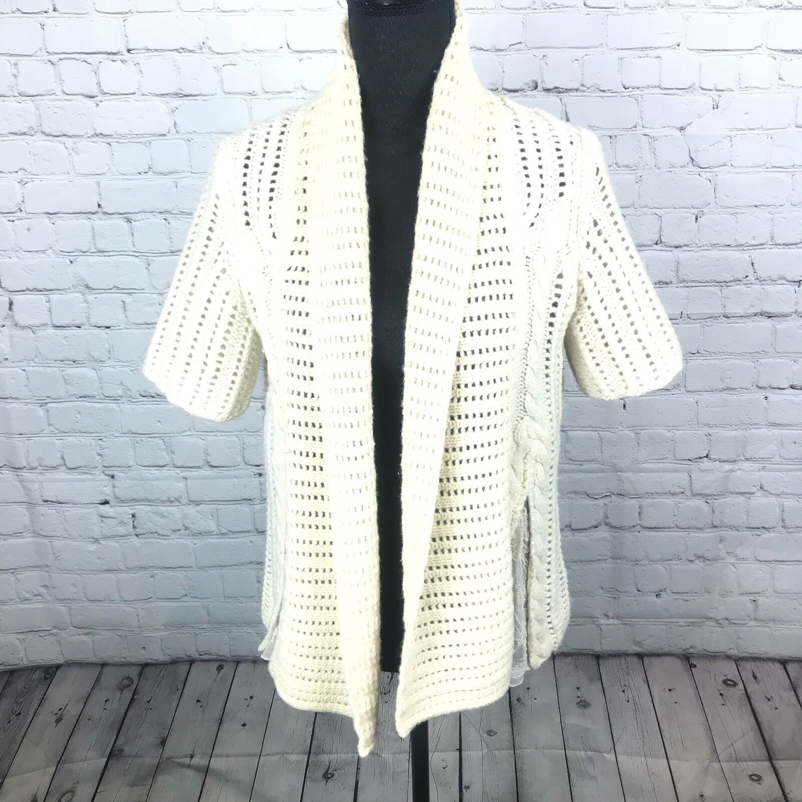 Guinevere Antrho Women's M Cream Lambswool Blend Cardigan Sweater Lace Panel