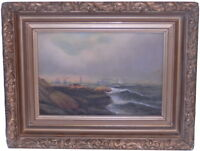 Oil on Board Seascape Art Painting Signed D.A. Fisher Listed Artist