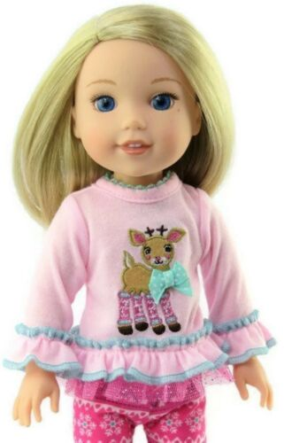 Pink Reindeer /& Leggings Outfit for American Girl Wellie Wishers Doll Clothes