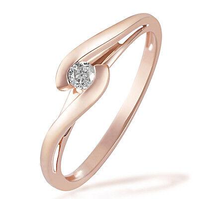Goldmaid Ring Solitär Verlobungsring 585 Rotgold 1 Brillant 0,08 ct. Echtschmuck