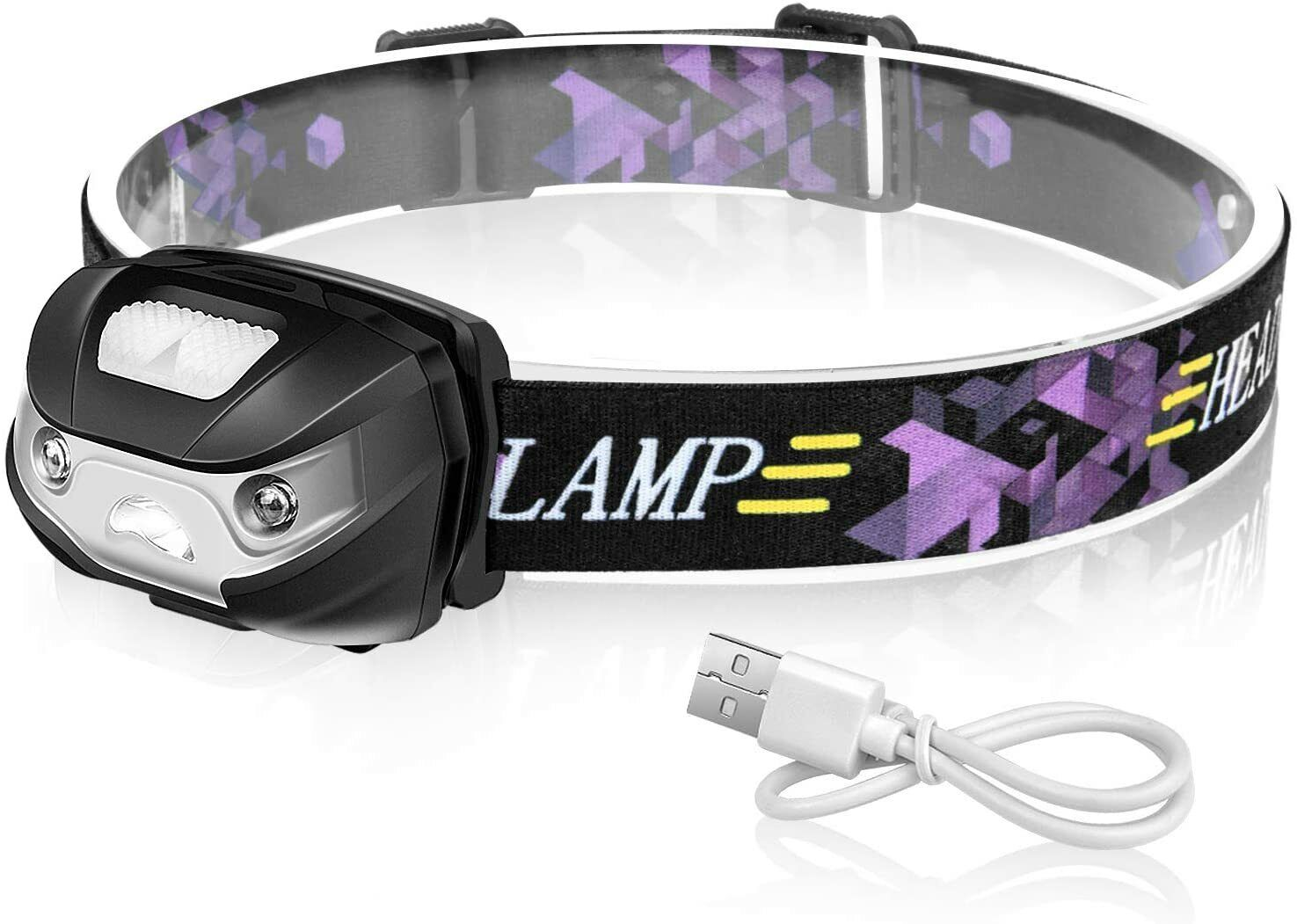 1Pack Hiking /& More Camping IPX6 Water Resistant./Great For Running Rechargeable Sensor Headlamp,600 Lumens White Cree LED Head Lamp Flashlight with Redlight Adjustable Strap