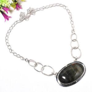 Black Tiger Eye Gemstone 925 Sterling Silver Handmade Necklace Jewelry 18 3314