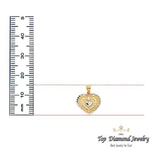 1 g TOP Diamond bijoux 14K Jaune Or Massif Coeur Filigrane Charme Pendentif