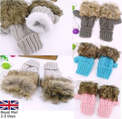 NEW KNITTED FUR FINGERLESS WOMENS GLOVES WRIST WARM WINTER MITTENS LADIES UK