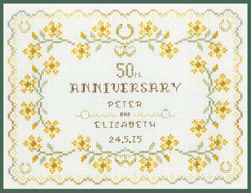 Cross Stitch Kit on 14 aida Golden Wedding Anniversary Sampler COLOUR chart