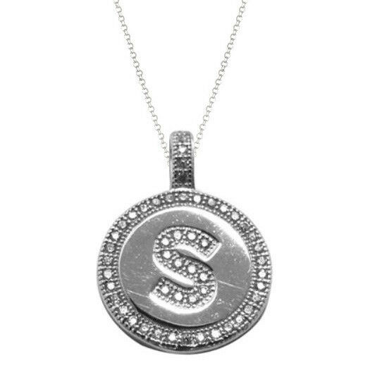 """.925 Sterling Silver Micro Pave CZ Letter Initial Disc Pendant Necklace 18"""""""