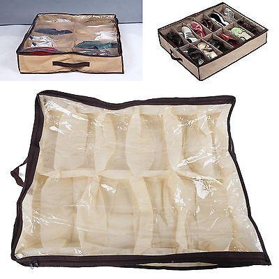 12 Pairs Shoes Storage Organizer Holder Intake Under Bed Closet Fabric Bag Box
