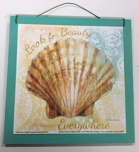 Set of 2 beach signs look for beauty life is full of little treasures wooden art