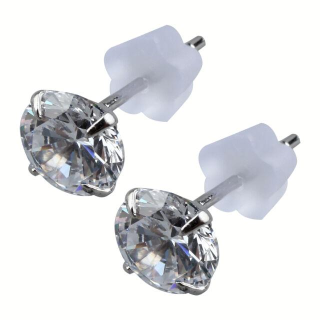 Sterling Silver 6mm White Zircon Earrings Stud Earring Ad
