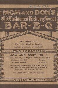 Vintage MOM AND DON'S BAR-B-Q Restaurant Menu Los Angeles, California 1959