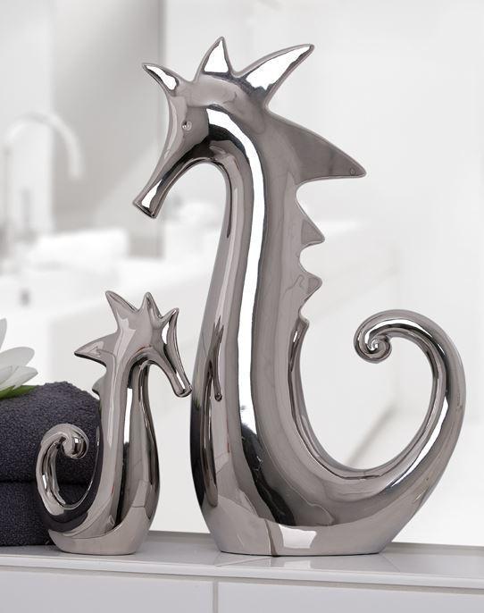 76792 cavallucci marini di ceramica Argento lucido 11 x 5 x 18 cm