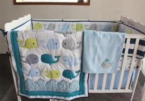 Details About Cute Whale Baby Crib Nursery Bedding Set Quilt Skirt Sheet Blanket Per Gifts