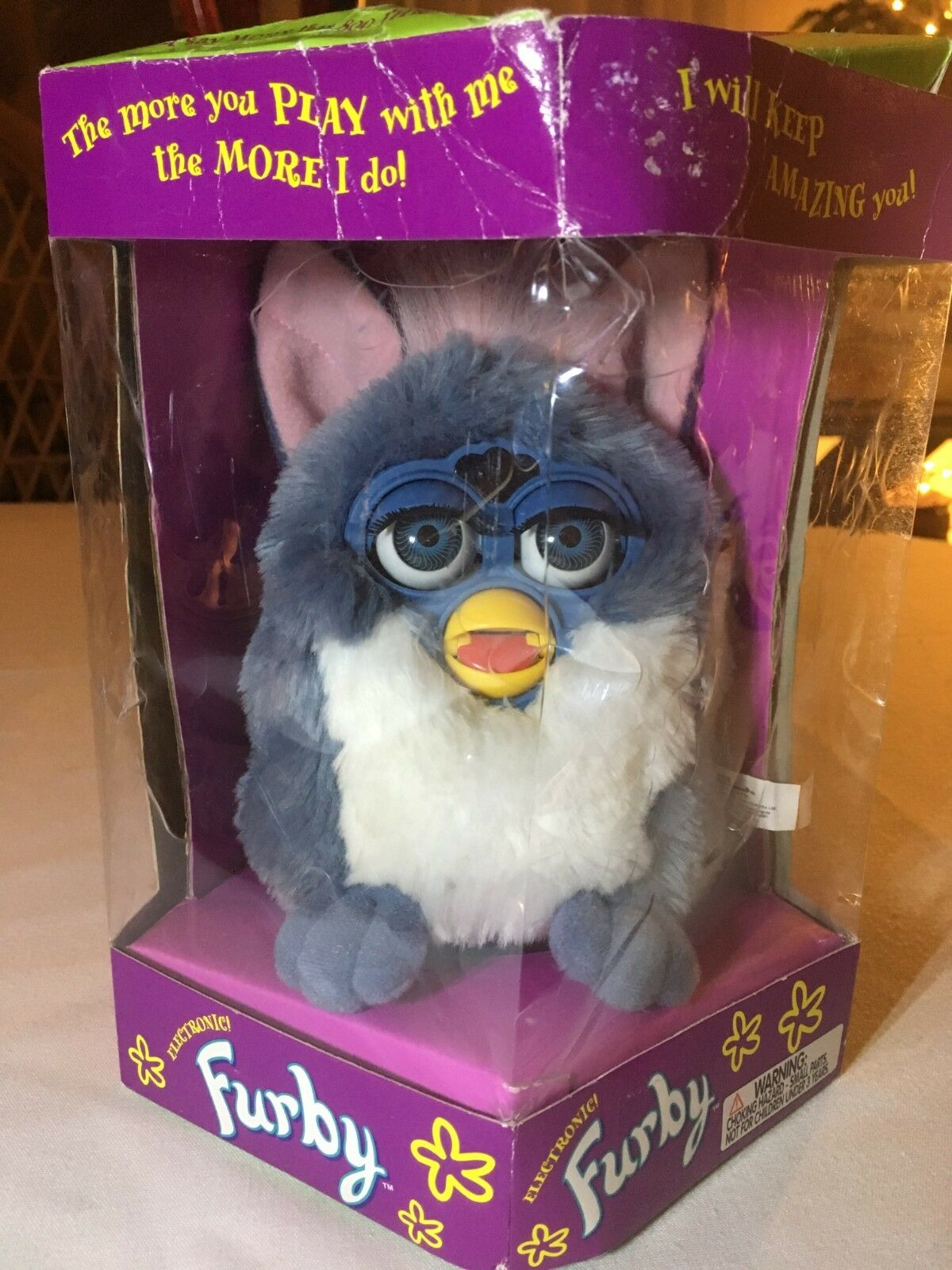 FURBY 1998 model model model blueE AND WHITE W PINK EARS NEW in original box 430b81
