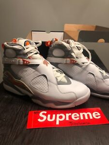 sports shoes cdaca 996bc Image is loading Air-Jordan-8-Retro-White-Stealth-Orange-Blaze-