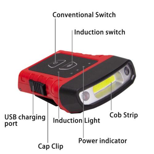 Rechargeable Portable COB LED Sensor Lamp USB Clip-on Hat Cap Light Headlamp