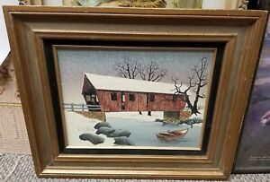 Image Is Loading OIL CANVAS PAINTING Rustic Winter Scene Covered Bridge