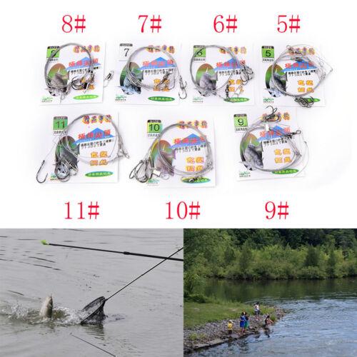 3bag Stainless Steel Fishing Rigs Wire Leader 5String Hook anti-winding hook FD