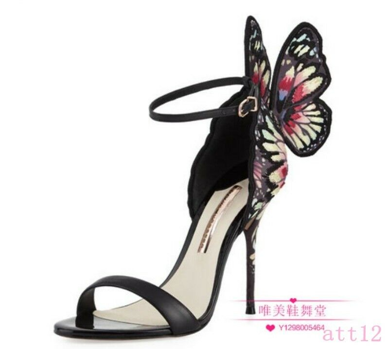 X Multicolor Shiny Leather High Heel Womens Butterfly Sandal Pumps Butterfly Womens Party Shoes 17c5c9