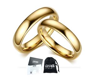 Coppia-Fedine-4mm-Acciaio-Color-Oro-semplici-con-incisione-fidanzamento