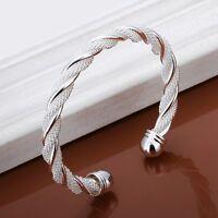 Armreif 925 Sterling Silber Platiert Armband Armkette Spange Schmuck ZicZac Neu