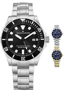 Alexander-Men-039-s-Swiss-Made-Quartz-Divers-Slim-Profile-Stainless-Steel-Link-Watch