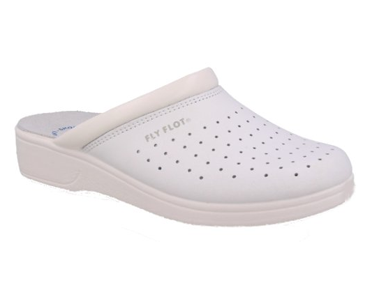 FLY FLOT 651 28094 BC WHITE Slippers Sanitary Man Perforated Real Leather