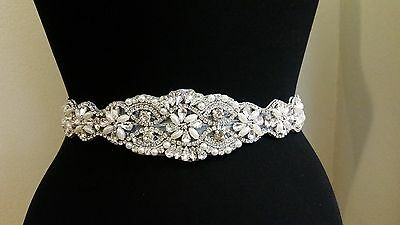 Wedding Dress Sash Belt - Crystal Pearl APPLIQUE PART = 17 1/2 INCH LONG = DIY