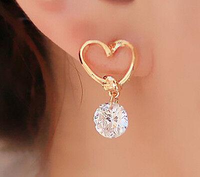 Women Heart Jewelry Silver Plated Ear Hook Crystal Rhinestone Earrings Love