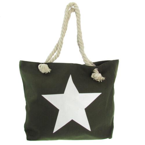 Damen Tasche Handtasche Strandtasche Shopper Stofftasche Stern Kordel