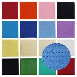 BINCA-Cross-Stitch-Fabric-AIDA-6-Count-12-5-50-100cm-Sheets-Lots-of-Colour-s