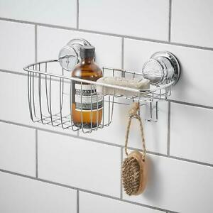 Details About Extra Strong Suction Shower Caddy With Hooks Combo Bathroom  Shampoo Soap Shelf