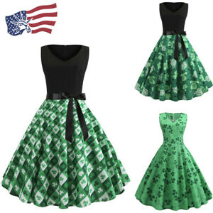 4f3e42be5 St. Patrick's Day Women's Clover Sleeveless Evening Print Party Prom ...